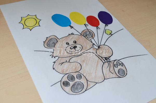 Аппликация Медведь с воздушными шариками