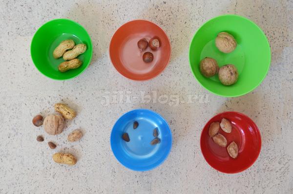 Сортировка орехов для малышей
