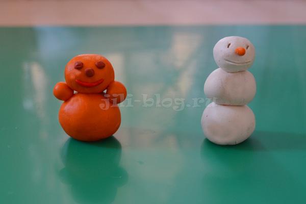 Поделки из пластилина Снеговик и Неваляшка