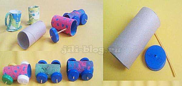 Машинки из рулончиков туалетной бумаги