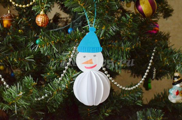 Елочная игрушка снеговик из бумаги