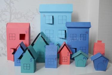 Новогодний адвент календарь Картонные домики