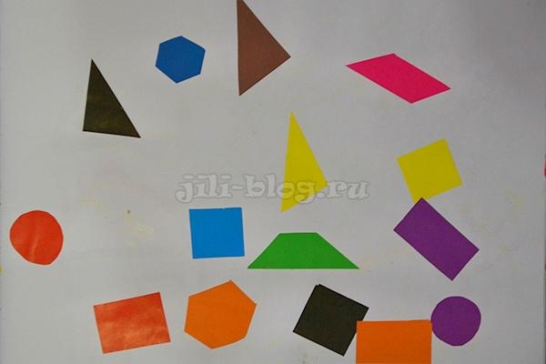 Приклеиваем геометрические фигуры