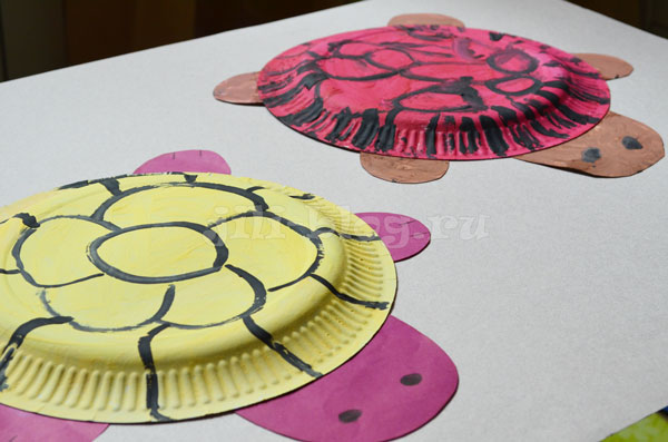 Поделка Черепаха из тарелки