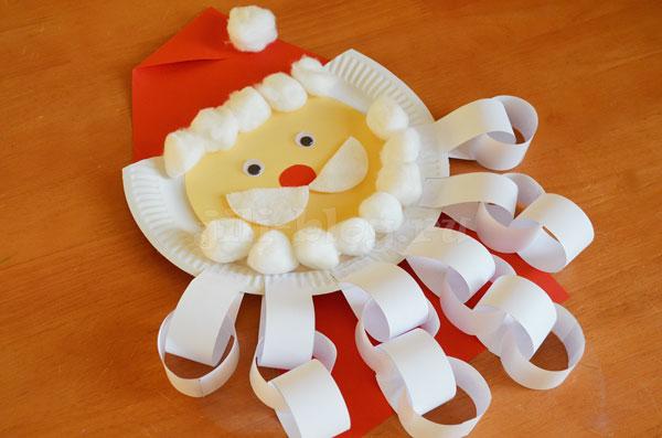Поделка Дед Мороз из тарелки