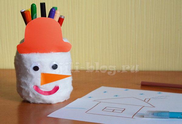Поделка Снеговик из банки